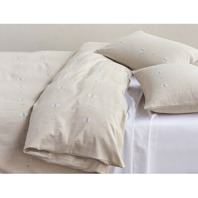 Morro Rock Embroidered Duvet Cover Size: Full/Queen, Color: Pale Toast/White/Blue