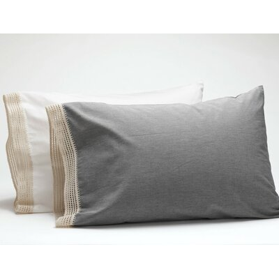 Crochet Trimmed Pillowcase Size: King, Color: Mid Gray Chambray