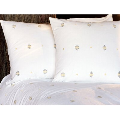 Morro Rock Embroidered Sham Color: Alpine White/Gray/Yellow, Size: Standard