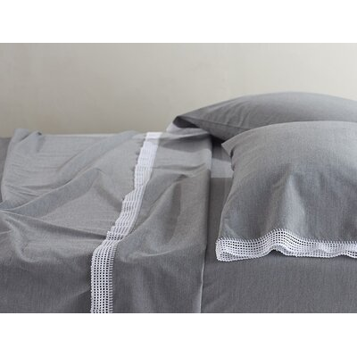 Crochet Trimmed Cotton Sheet Set Size: Queen, Color: Mid Gray Chambray
