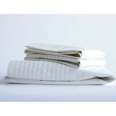 Pin Tuck Percale 300 Thread Count Cotton Sheet Set Color: Natural, Size: Twin