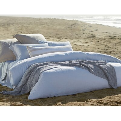 Relaxed Linen Duvet Cover Color: Misty Ocean, Size: Full/Queen