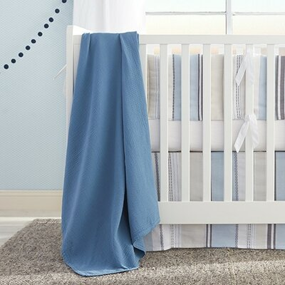 Washed Matelasse Stroller Cotton Blanket Color: Coronet Blue