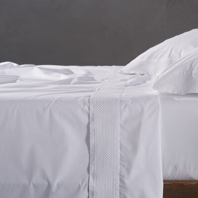 Lattice 220 Thread Count 100% Cotton Sheet Set Size: King, Color: Alpine White