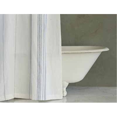 Rustic Linen Shower Curtain Color: Pale Ocean/Pewter