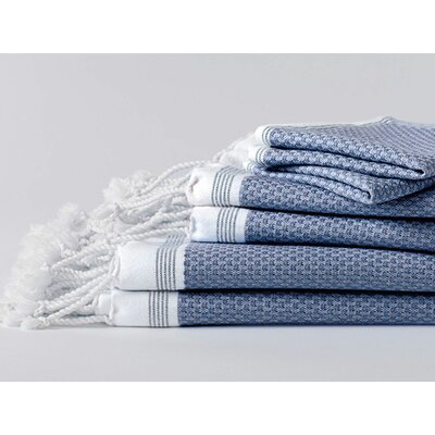 Mediterranean 6 Piece Towel Set Color: Lake with sea spray stripe