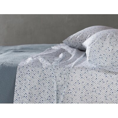Watercolor Printed Diamond 200 Thread Count 100% Cotton Sheet Set Size: King, Color: Aqua/Blue