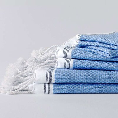 Mediterranean 6 Piece Towel Set Color: Azure/Mid Ocean