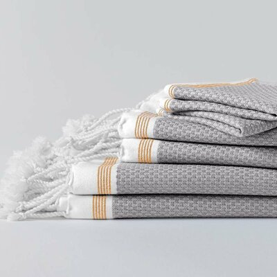 Mediterranean 6 Piece Towel Set Color: Deep Pewter/Tangerine