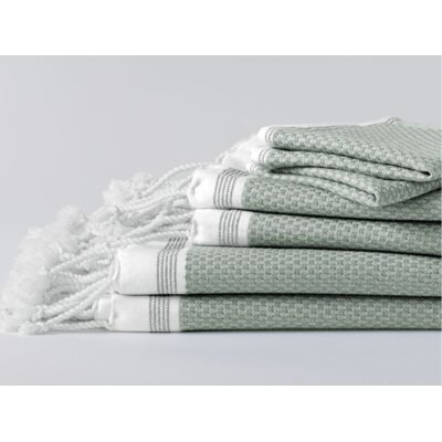 Mediterranean Bath Sheet Color: Eucalyptus/Deep Pewter