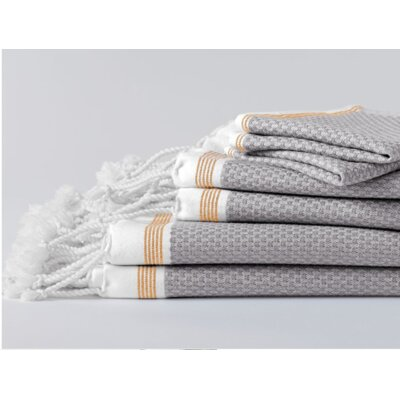 Mediterranean Bath Sheet Color: Deep Pewter/Tangerine