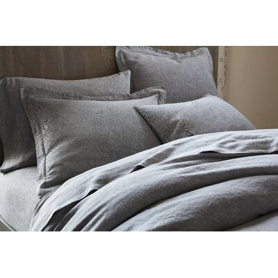 Organic Relaxed Linen Duvet Cover Size: Full/Queen, Color: Soft Black Chambray