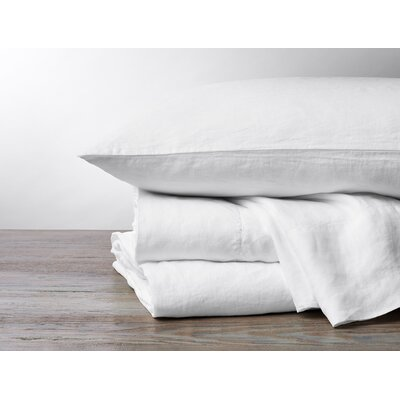 Organic Relaxed Linen 4 Piece Pillowcase Set Color: Alpine White, Size: King