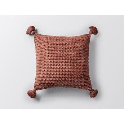 Woven Tassel Decorative Pillow Cover Color: Rust
