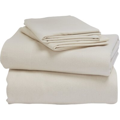 Cloud Brushed Flannel 100% Cotton Sheet Set Size: King, Color: Natural