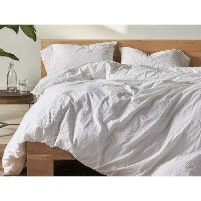 Organic Crinkled Percale 100% Cotton Sheet Set Size: Full, Color: Alpine White