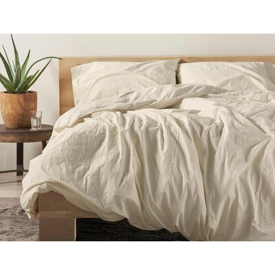 Organic Crinkled Percale 100% Cotton Sheet Set Size: Full, Color: Pewter