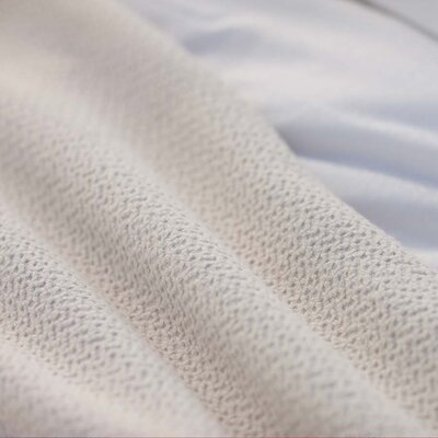 Honeycomb Cotton Throw / Blanket Color: White, Size: Queen (90 x 92)