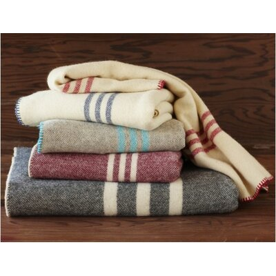 Striped Wool Throw Blanket Color: Charcoal with Natural, Size: Queen