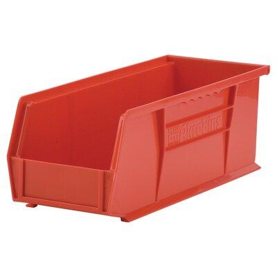 "Plastic Bin (Set of 12) Size: 5"" H x 5.5"" W x 14.75"" D, Color: Red REBR2351 39556523"