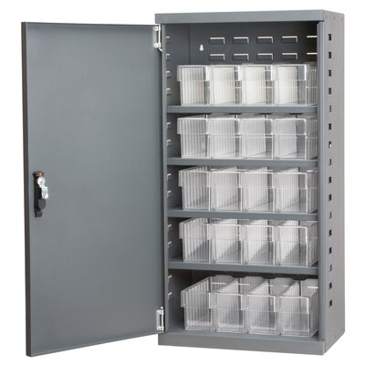 1 Door Storage Cabinet Color: Gray/Clear Product Photo 757