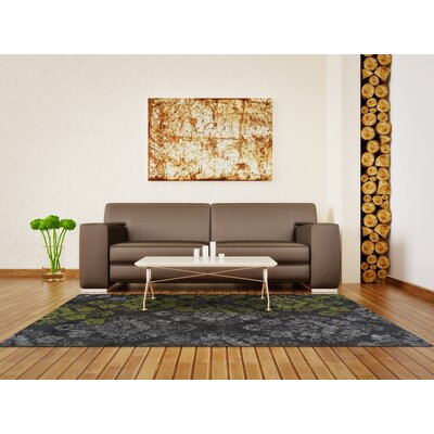 Grand Tour Green/Gray Area Rug Rug Size: 53 x 77