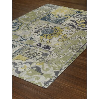 Grand Tour Floral Olive/Blue Area Rug Rug Size: 33 x 51