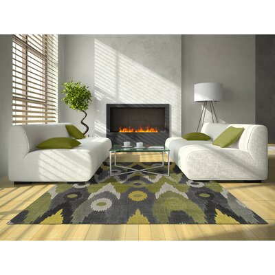 Grand Tour Green/Gray Area Rug Rug Size: 96 x 132