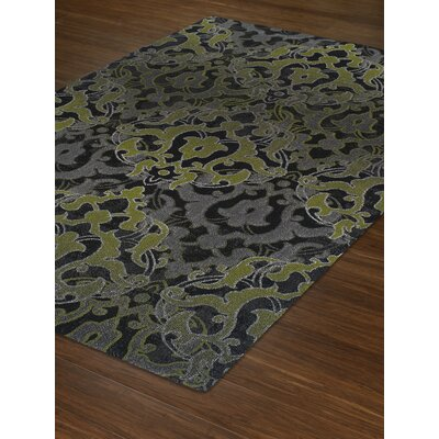 Grand Tour Green/Black Area Rug Rug Size: 53 x 77