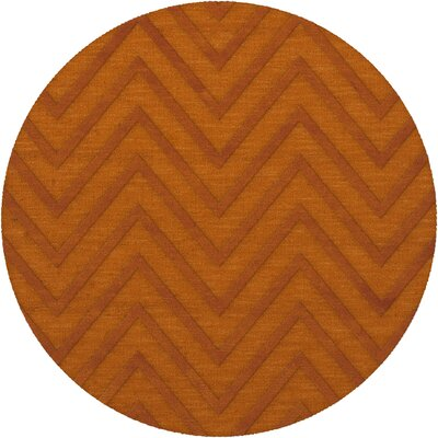Dover Tufted Wool Orange Area Rug Rug Size: Round 4