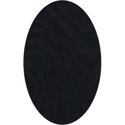 Dover Tufted Wool Black Area Rug Rug Size: Oval 6 x 9