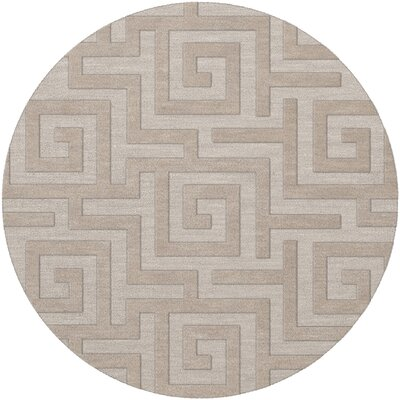 Dover Tufted Wool Putty Area Rug Rug Size: Round 6