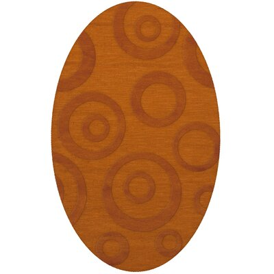 Dover Tufted Wool Orange Area Rug Rug Size: Oval 9 x 12