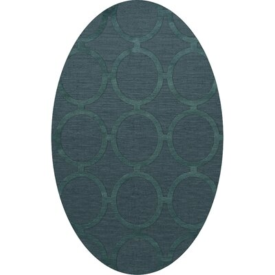 Dover Tufted Wool Teal Area Rug Rug Size: Oval 8 x 10