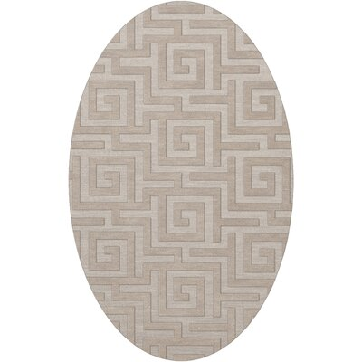 Dover Tufted Wool Putty Area Rug Rug Size: Oval 12 x 18