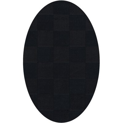 Dover Tufted Wool Black Area Rug Rug Size: Oval 12 x 18