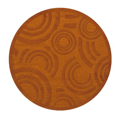 Dover Tufted Wool Orange Area Rug Rug Size: Round 6