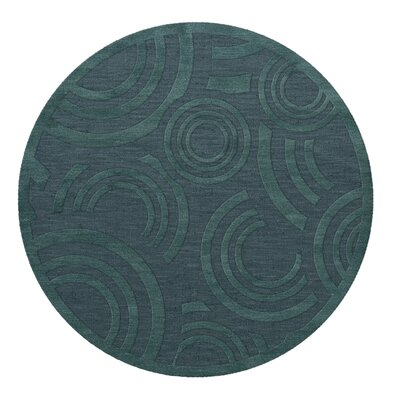 Dover Tufted Wool Teal Area Rug Rug Size: Round 4