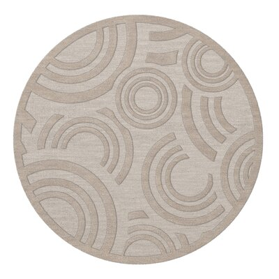 Dover Tufted Wool Putty Area Rug Rug Size: Round 4