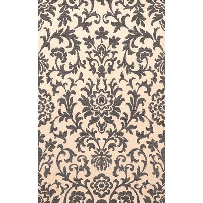 Bella Machine Woven Wool Beige/Gray Area Rug Rug Size: Oval 4 x 6