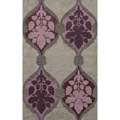 Bella Machine Woven Wool Gray/Purple Area Rug Rug Size: Round 12