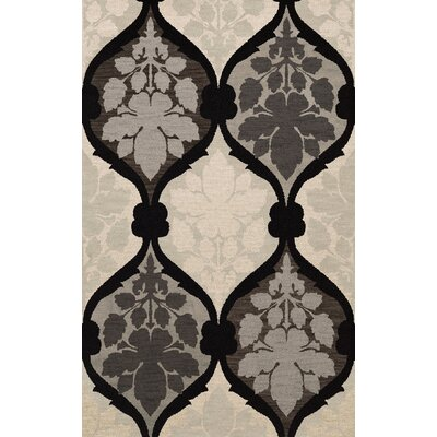 Bella Machine Woven Wool Gray/Black Area Rug Rug Size: Oval 4 x 6