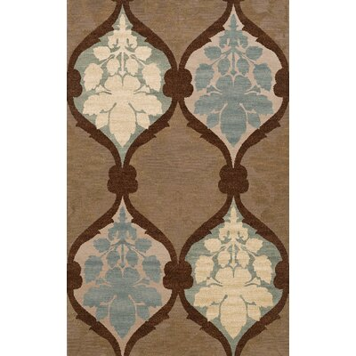 Bella Machine Woven Wool Brown Area Rug Rug Size: Round 8