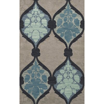 Bella Machine Woven Wool Gray/Blue Area Rug Rug Size: Round 4