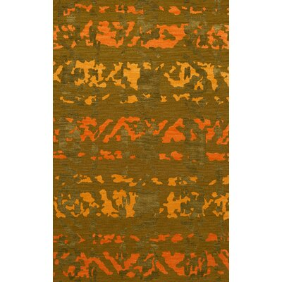 Bella Machine Woven Wool Green Area Rug Rug Size: Oval 12 x 18
