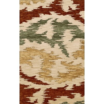 Bella Machine Woven Wool Brown/Green/Beige Area Rug Rug Size: Round 4