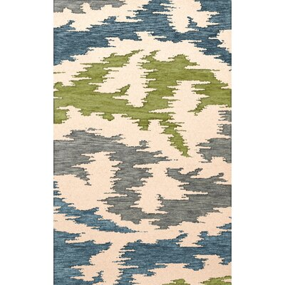 Bella Machine Woven Wool Gray/Blue/Green Area Rug Rug Size: Round 8