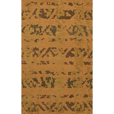 Bella Machine Woven Wool Gold Area Rug Rug Size: Oval 12 x 18