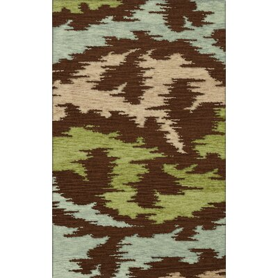 Bella Brown,Green,Gray Area Rug Rug Size: Oval 6 x 9