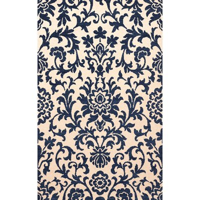 Bella Machine Woven Wool Beige/Blue Area Rug Rug Size: Oval 3 x 5